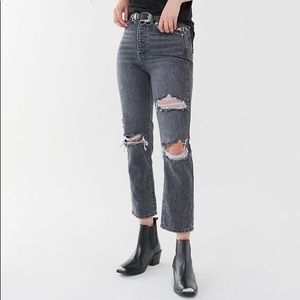 BDG Washed Black Ripped Slim Straight Jeans 24